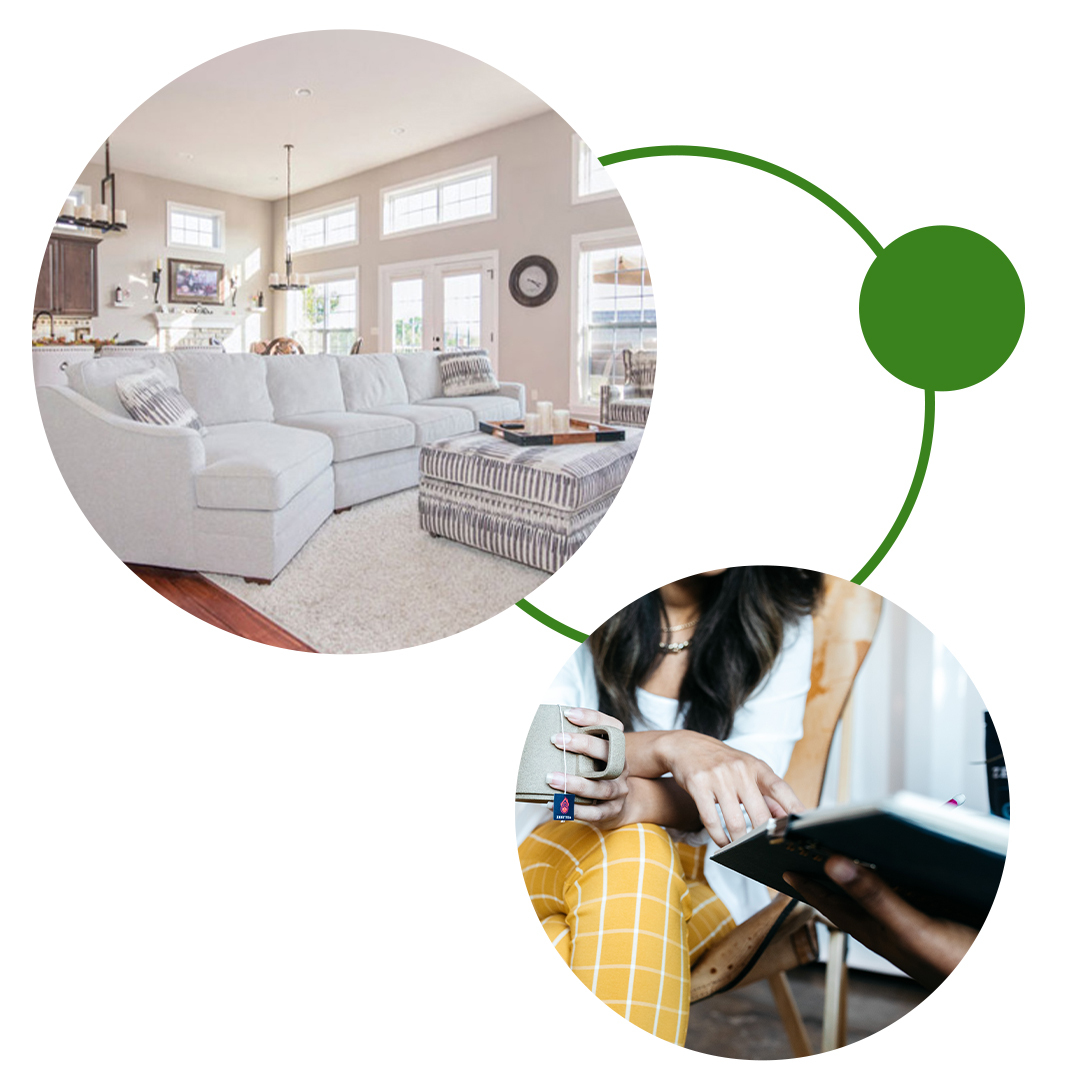 Image Collage of a well funished home and a woman looking through a catalog Web Page image